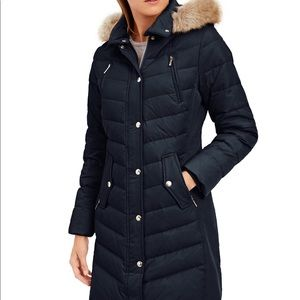 Faux-Fur-Trim Hooded Chevron Down Puffer Coat